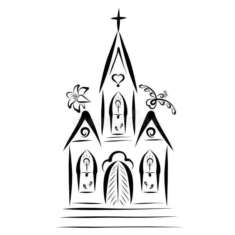 Costruzione di chiesa, uccello, incrocio e giglio, religione illustrazione di stock