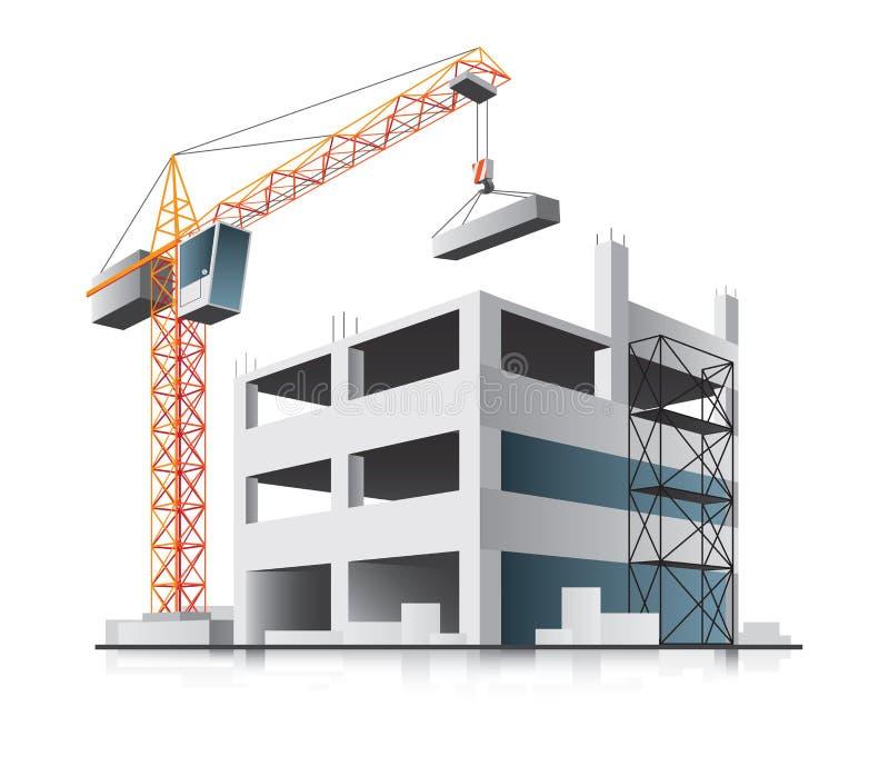 Costruzione di edifici con la gru royalty illustrazione gratis