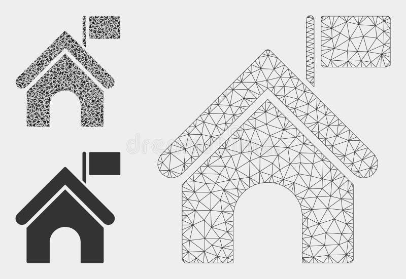 Costruzione di governo con il vettore Mesh Network Model della bandiera e l'icona del mosaico del triangolo illustrazione vettoriale