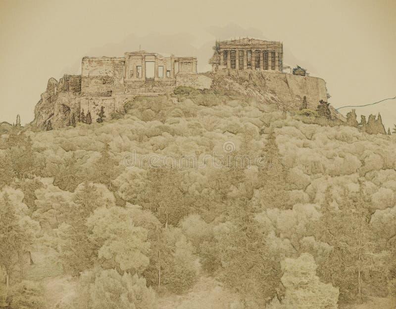 Costruzione di Herodium e del Partenone in collina dell'acropoli a Atene immagini stock