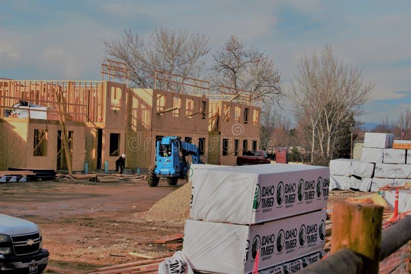 Costruzione di inverno in Boise Idaho fotografie stock libere da diritti