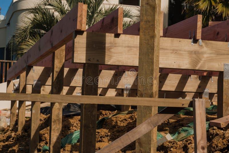 Costruzione di legno delle case private fotografie stock