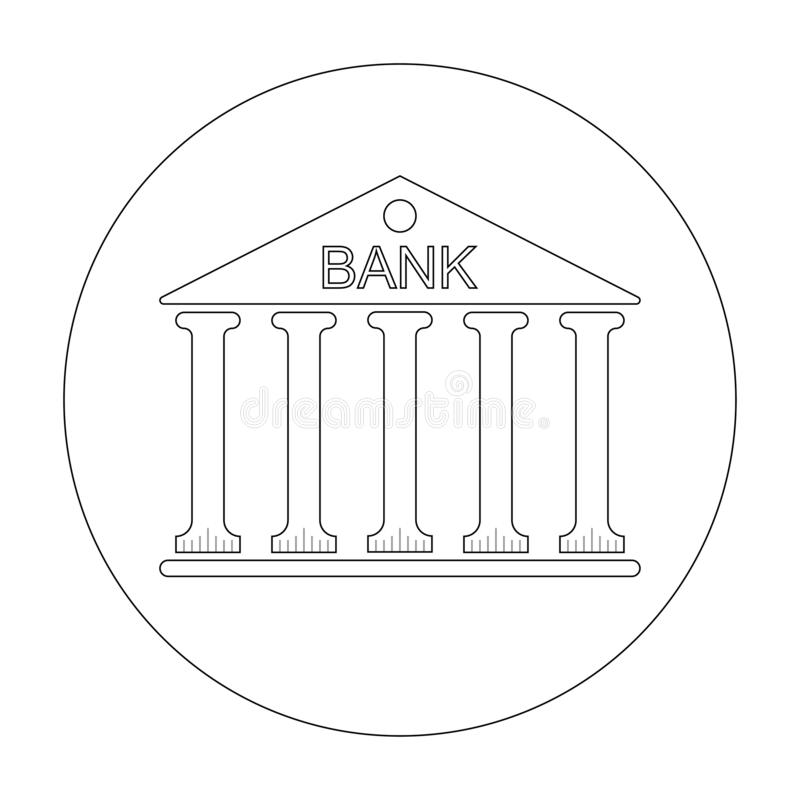 Costruzione di logo o tribunale con le colonne e la Banca dell'iscrizione sull'illustrazione di vettore del tetto isolata su fond royalty illustrazione gratis