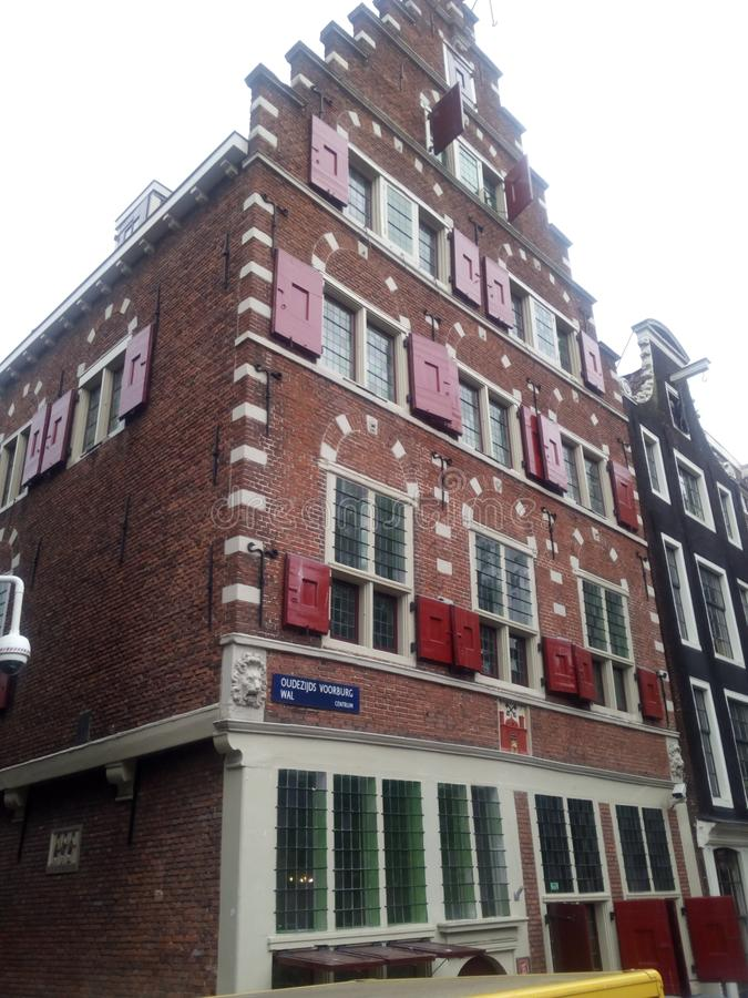 Costruzione di storia di Nederland Amsterdam fotografia stock libera da diritti