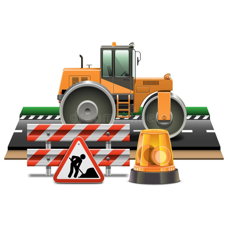 Costruzione di strade di vettore con il rullo compressore illustrazione di stock