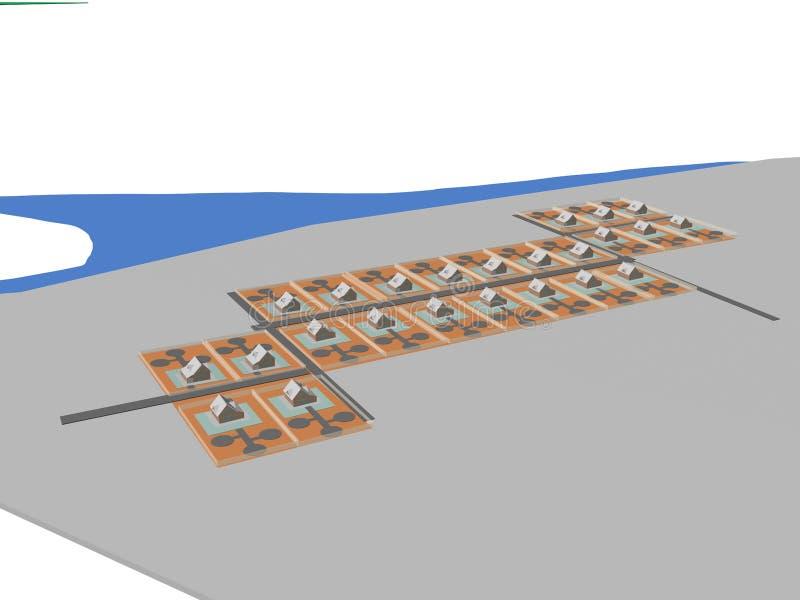 Costruzione di vizualization del modello di progetto 3d di architettura fotografie stock libere da diritti
