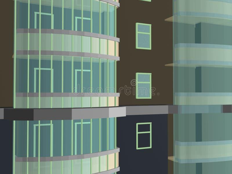 Costruzione di vizualization del modello di progetto 3d di architettura fotografia stock libera da diritti