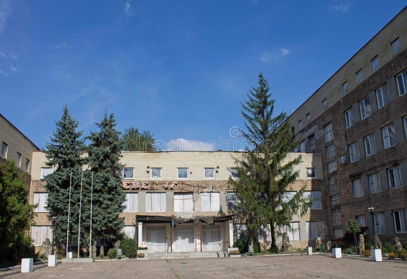 Costruzione dopo la guerra in Donec'k fotografia stock