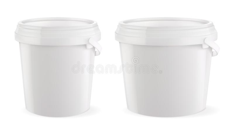 Costruzione e sanitario d'imballaggio Benna di plastica bianca Modello di vettore illustrazione di stock