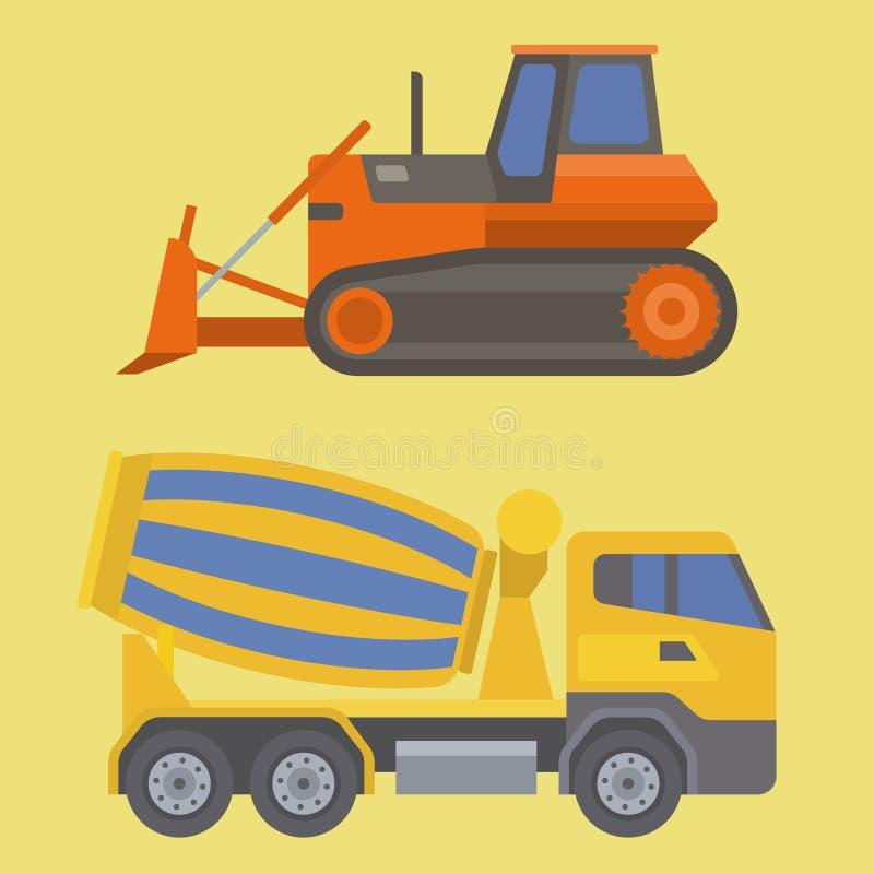 Costruzione e strada del veicolo del trasporto di vettore del camion di consegna della costruzione che trasportano la grande piat illustrazione di stock