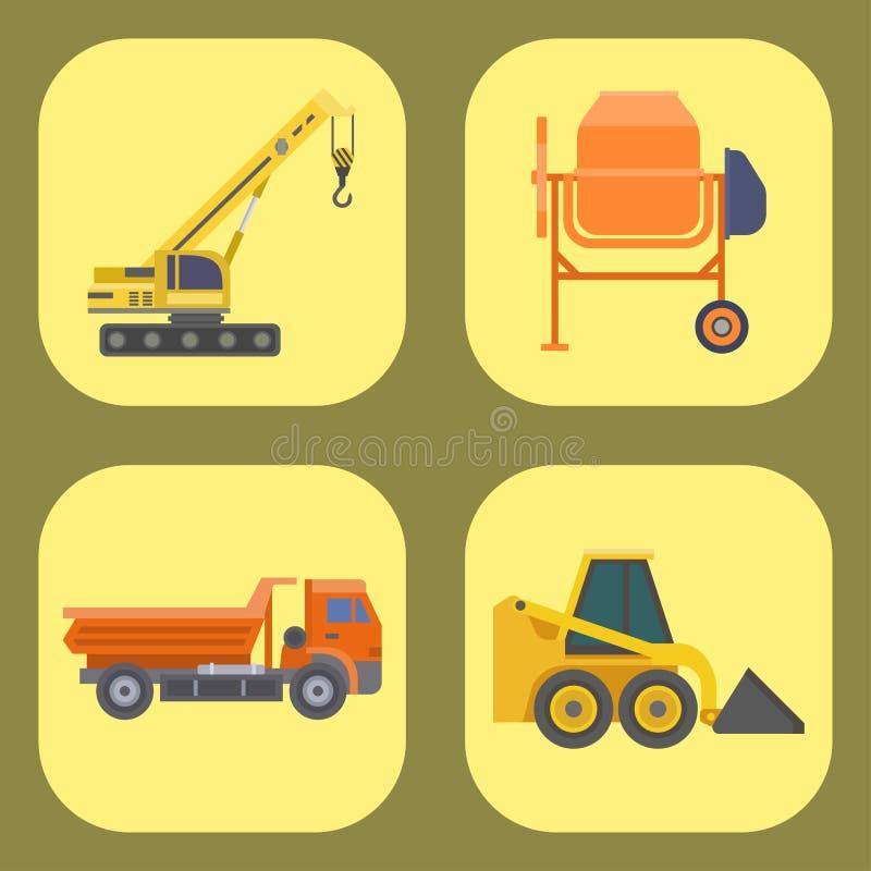Costruzione e strada del veicolo del trasporto di vettore del camion di consegna della costruzione che trasportano la grande piat illustrazione vettoriale