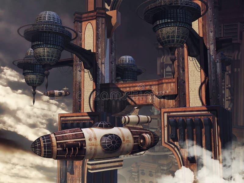 Costruzione e zeppelin di fantascienza illustrazione vettoriale