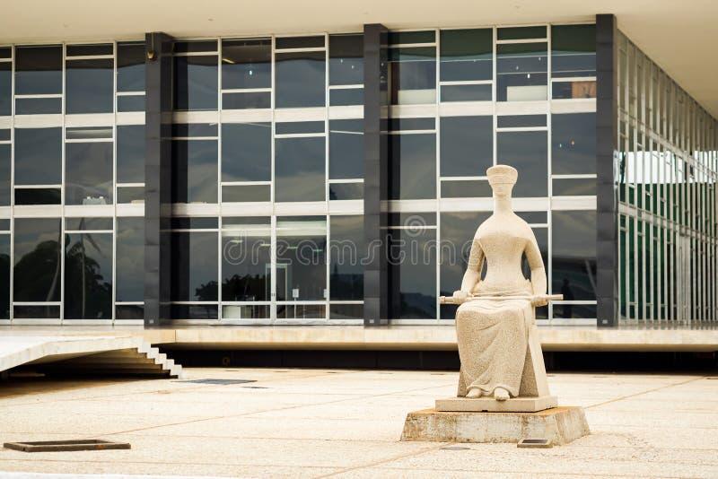 Costruzione federale del tribunale di Supremo a Brasilia, capitale del Brasile fotografia stock libera da diritti