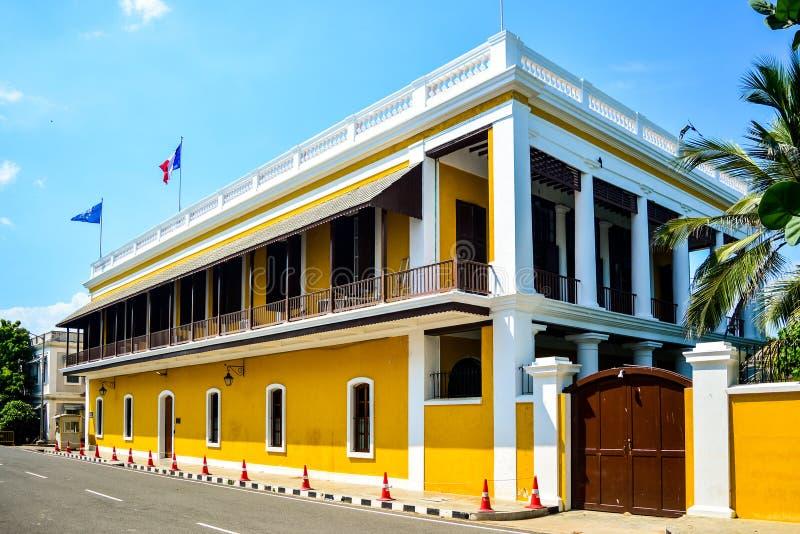 Costruzione francese del consolato in Puducherry, India immagine stock libera da diritti