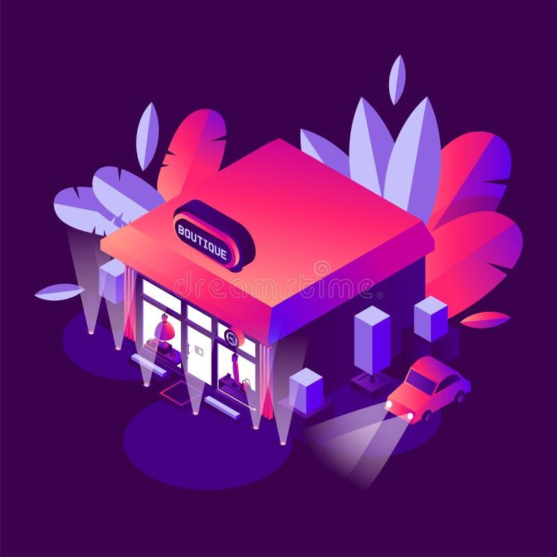 Costruzione isometrica con la pianta, sxene di notte nei colori luminosi di pendenza con la stanza frontale di negozio del boutiq illustrazione vettoriale