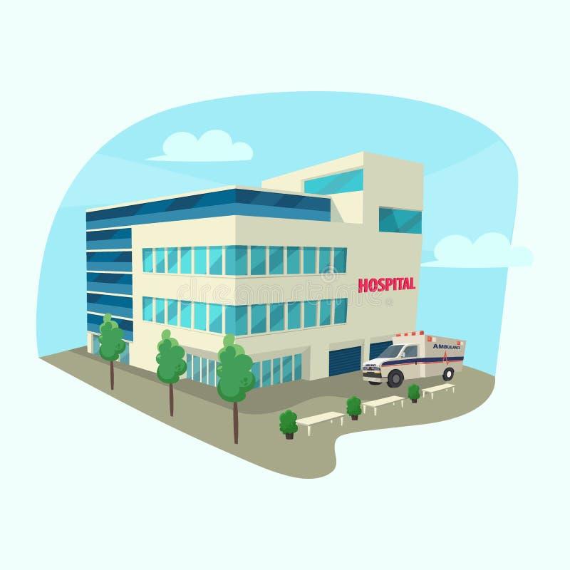 Costruzione isometrica della clinica o dell'ospedale illustrazione di stock