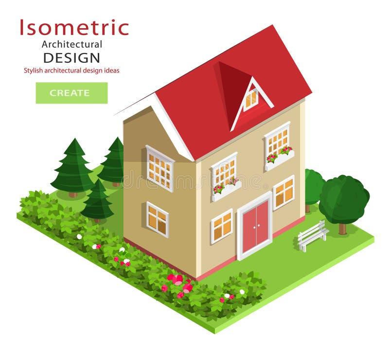 Costruzione isometrica dettagliata variopinta moderna Casa isometrica di vettore del grafico 3d con l'iarda verde illustrazione di stock