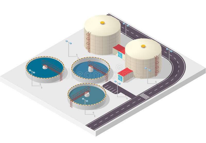 Costruzione isometrica di trattamento delle acque, grande purificatore del batterio su bianco illustrazione di stock