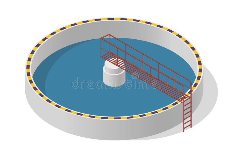 Costruzione isometrica di trattamento delle acque, grande purificatore del batterio su bianco illustrazione vettoriale