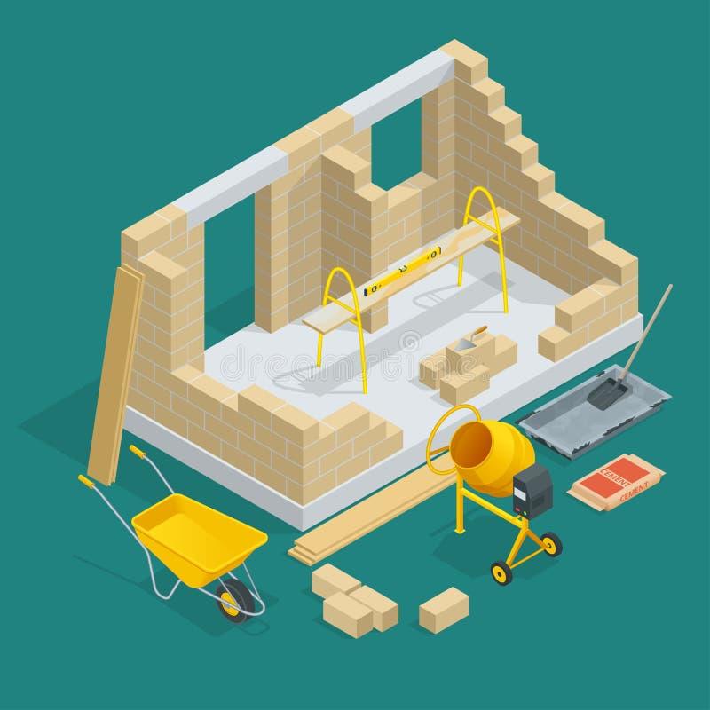Costruzione isometrica di una casa con mattoni a vista Illustrazione di vettore di processo di costruzione della Camera Costruzio royalty illustrazione gratis