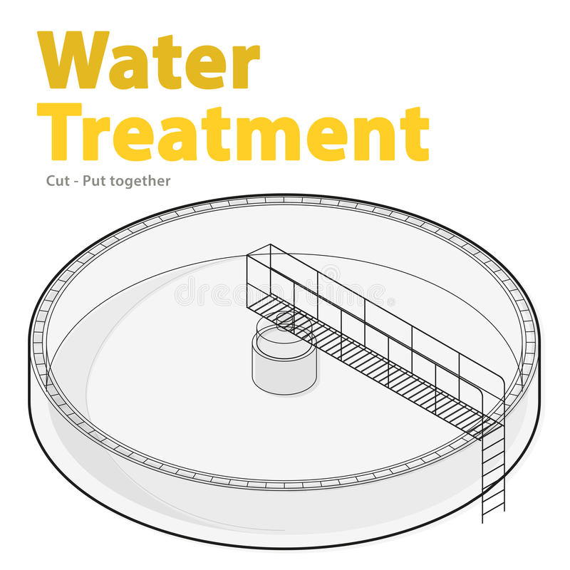 Costruzione isometrica infographic, grande purificatore di trattamento delle acque del batterio del cavo illustrazione di stock