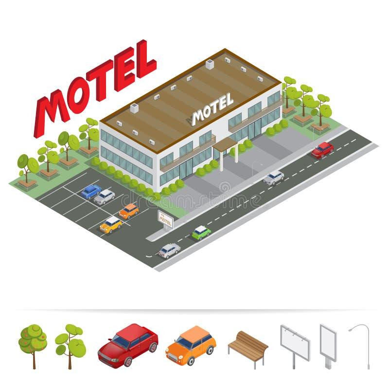 Costruzione isometrica Motel con parcheggio Motel isometrico illustrazione di stock