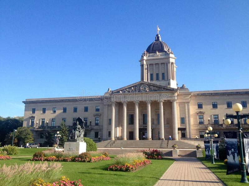 Costruzione legislativa di Manitoba in Winnipeg fotografia stock libera da diritti