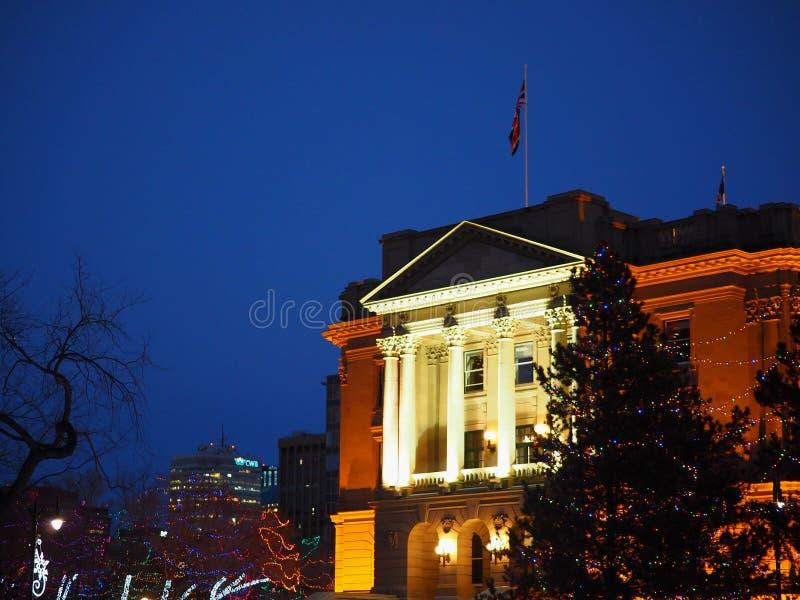 Costruzione legislativa illuminata Edmonton, Alberta fotografia stock