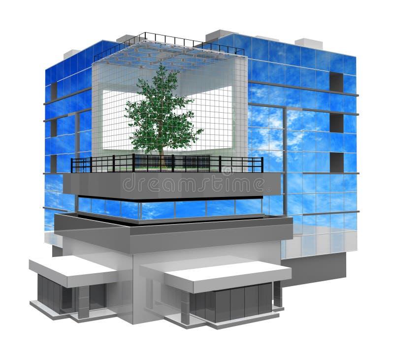 Costruzione moderna, albero all'interno illustrazione vettoriale