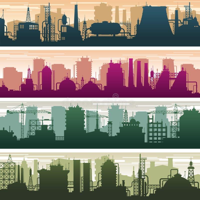 Costruzione moderna delle siluette del gas e della stazione, della centrale elettrica e della fabbrica dell'olio Insieme di vetto illustrazione vettoriale
