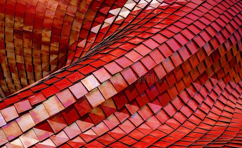 Costruzione moderna di architettura composta di mattonelle rosse del metallo immagine stock libera da diritti