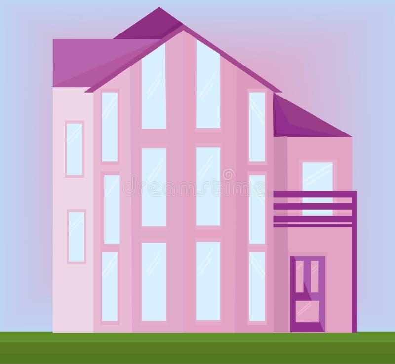 Costruzione moderna di architettura della casa di vettore rosa della facciata illustrazione di stock