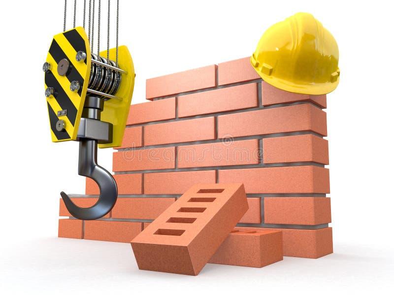 In costruzione. Muro di mattoni, gru ed elmetto protettivo illustrazione vettoriale