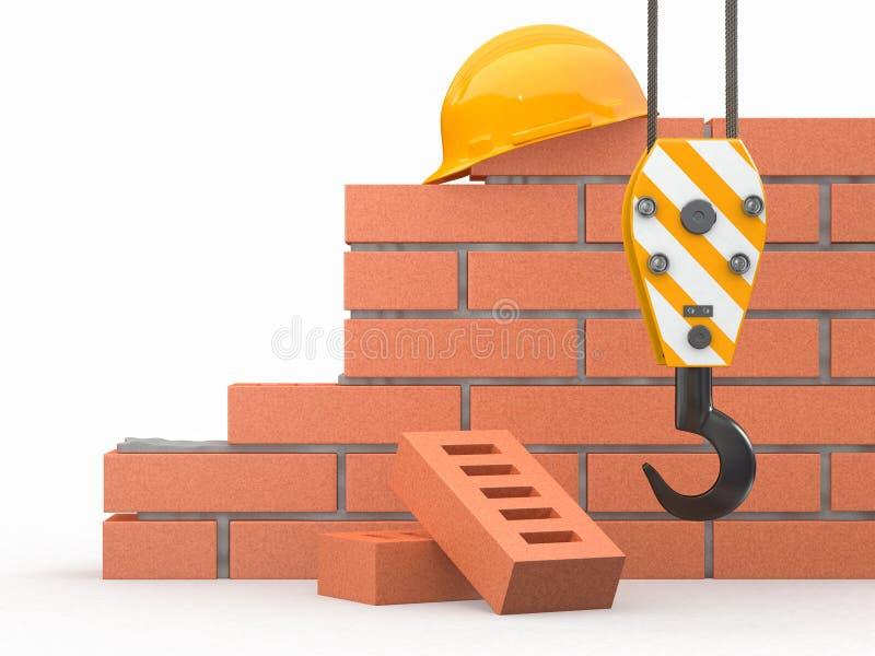 In costruzione. Muro di mattoni, gru ed elmetto protettivo illustrazione di stock