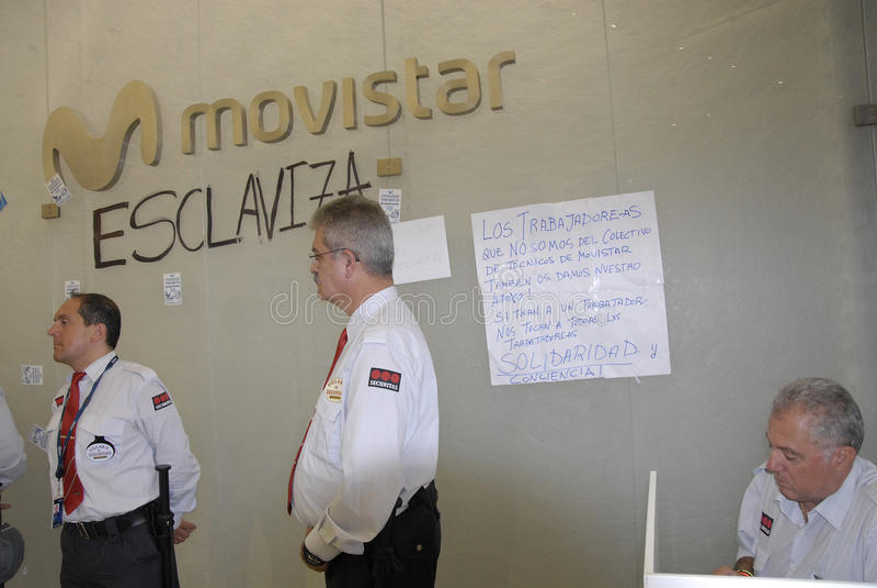 COSTRUZIONE OCCUPATA MOVISTARS DI TELEFONIC fotografie stock