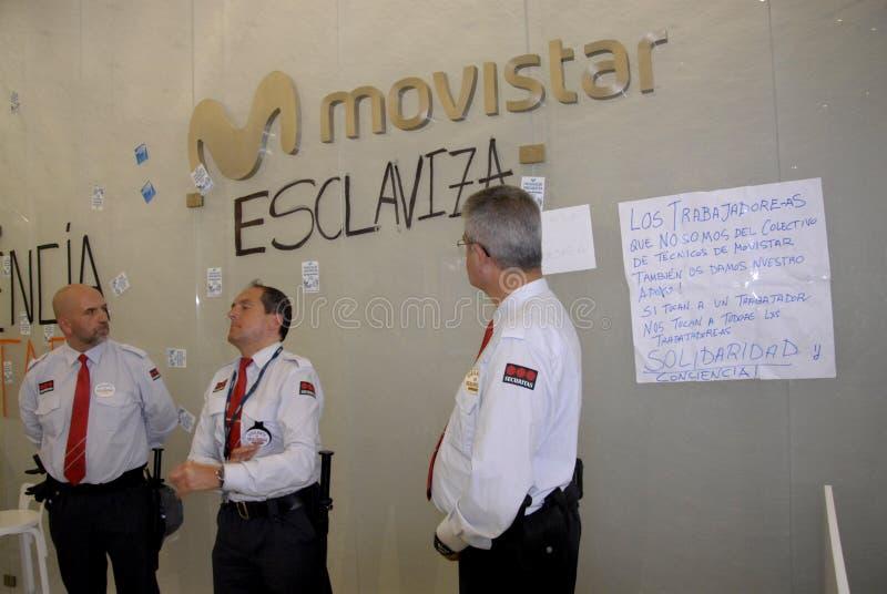 COSTRUZIONE OCCUPATA MOVISTARS DI TELEFONIC fotografia stock