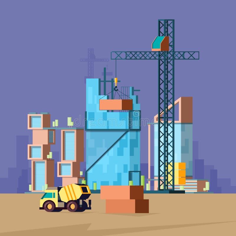 Costruzione piana Immagine bassa di vettore del paesaggio del costruttore di casa di produzione delle costruzioni di vettore poli royalty illustrazione gratis
