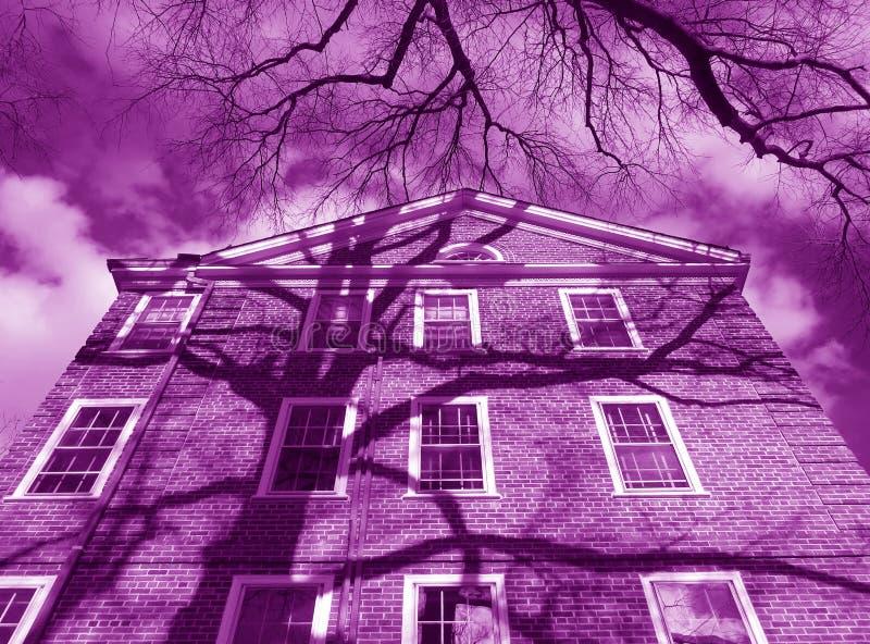 Costruzione porpora del condominio fotografia stock libera da diritti