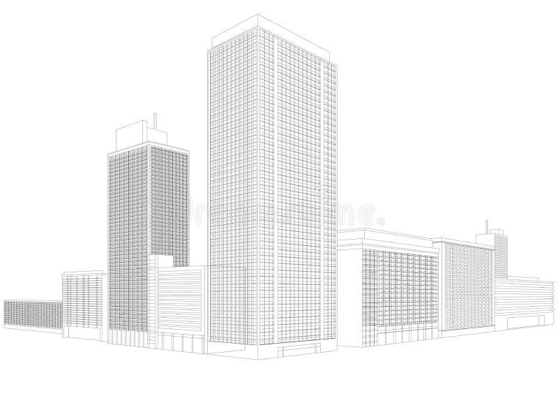 Costruzione residenziale del wireframe della città illustrazione di stock