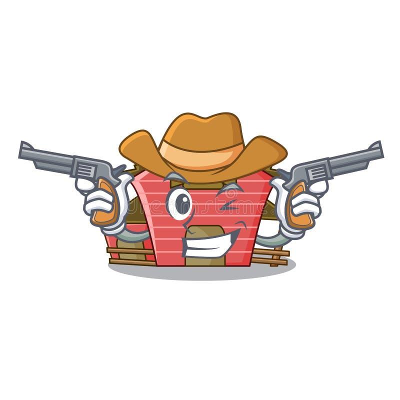 Costruzione rossa del granaio del carattere del cowboy con il mucchio di fieno royalty illustrazione gratis