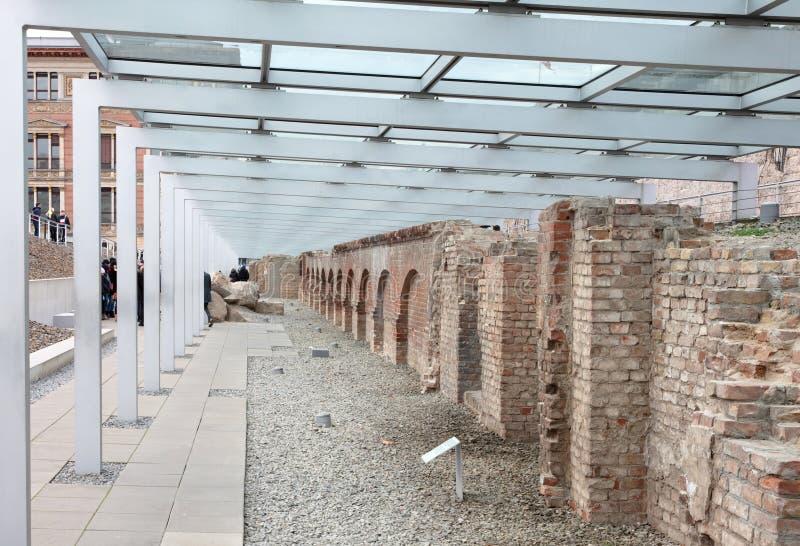 Costruzione in rovina della sede delle SS nella topografia del Terrore al museo il 30 dicembre 2019, Berlino fotografie stock libere da diritti