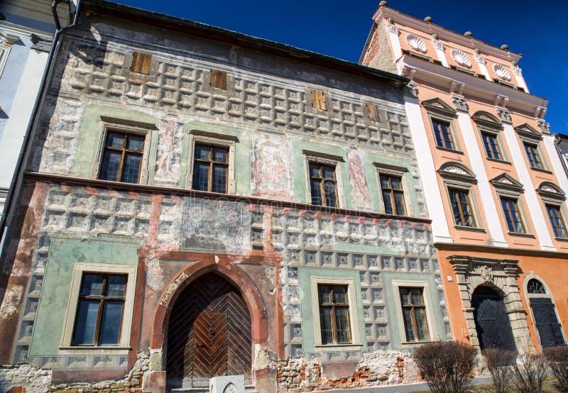 Costruzione rovinata in Levoca, Slovacchia fotografia stock libera da diritti