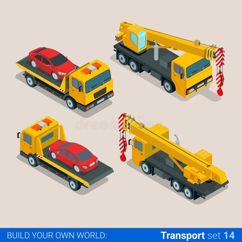 Costruzione a ruote seguita: veicoli isometrici piani di vettore illustrazione vettoriale