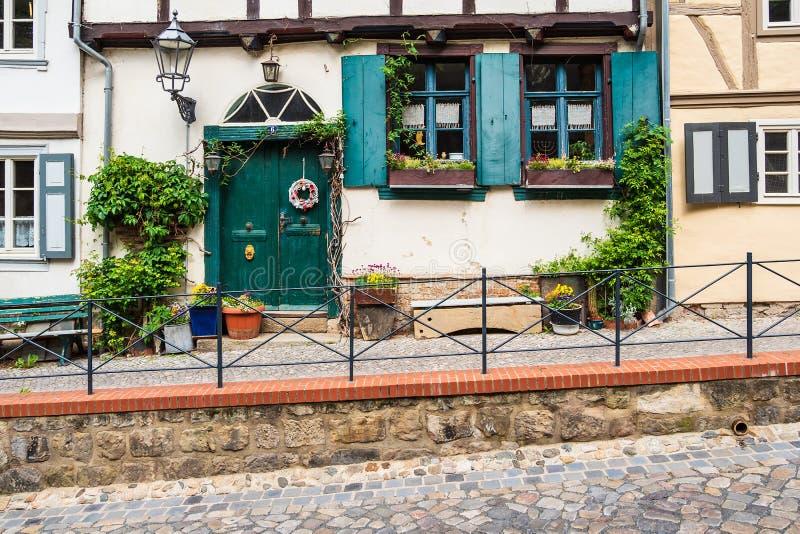 Costruzione storica nella città Quedlinburg, Germania fotografia stock libera da diritti