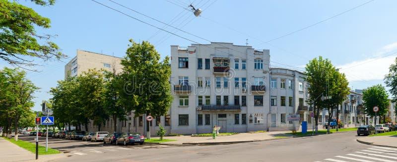 Costruzione sull'angolo delle vie Pushkin e Artem ( fotografia stock libera da diritti