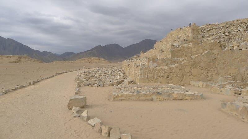 Costruzione sviluppata di civilizzazione di Caral 5000 anni fa fotografia stock libera da diritti