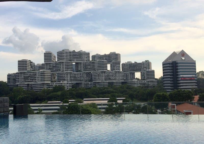 Costruzione unica a Singapore fotografie stock