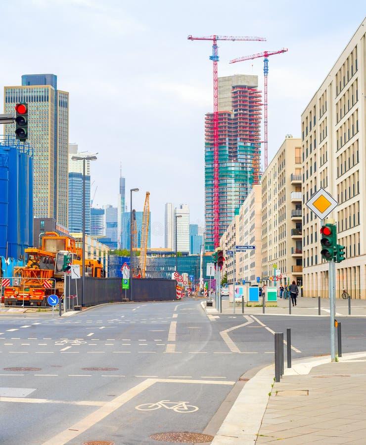 Costruzione urbana di paesaggio urbano di Francoforte, Germania fotografia stock