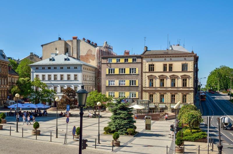 Costruzioni antiche in Bielsko-Biala, Polonia fotografia stock libera da diritti