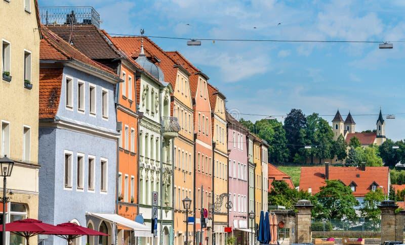 Costruzioni in Città Vecchia di Regensburg, Germania fotografia stock